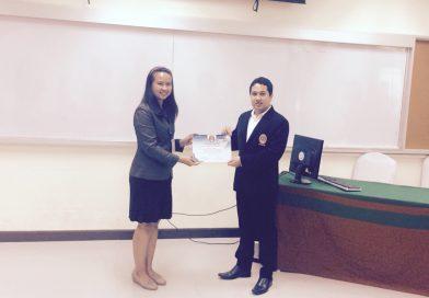 อาจารย์ทัศวิญา  พัดเกาะ อาจารย์สาขาวิชากายภาพบำบัด ได้รับรางวัลดีเด่นในการนำเสนอผลงานวิจัยแบบปากเปล่า ณ มหาวิทยาลัยราชภัฏร้อยเอ็ด